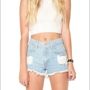 Brand Melville Distressed High Rise Jean Shorts